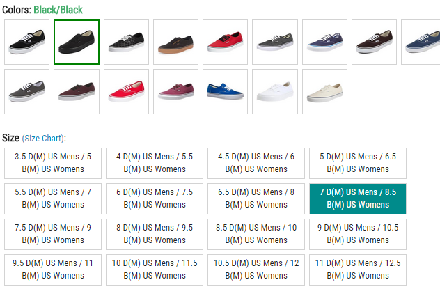 Sizes displayed on our site depicting both the mens and womens sizing equivalents.