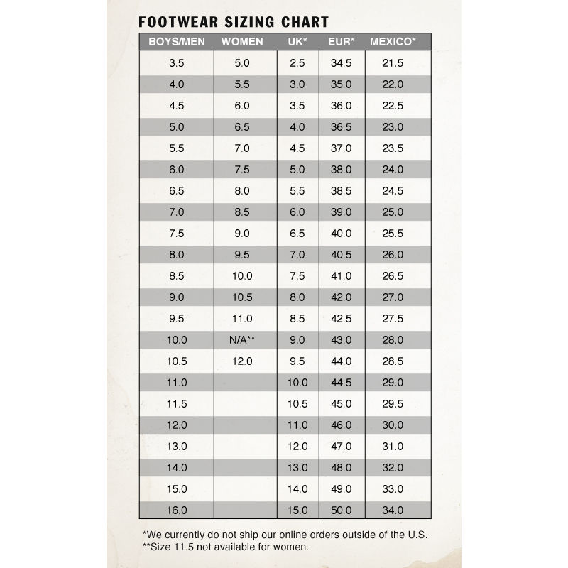 vans old skool sizing chart
